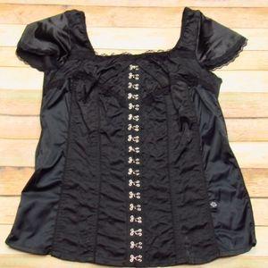 Cap Sleeve Black Zipper Back Corset Top